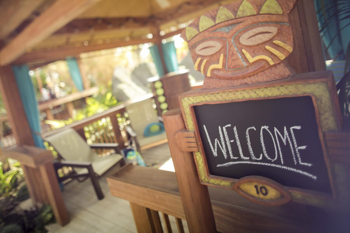 Cabana with Welcome sign