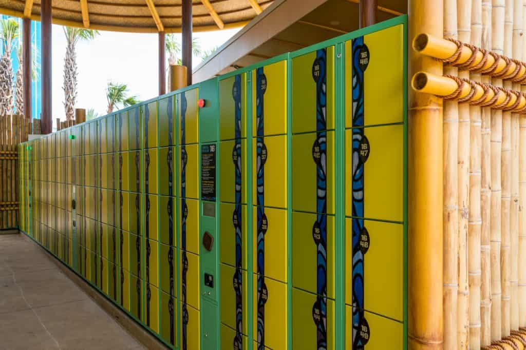 Green and yellow lockers with bamboo
