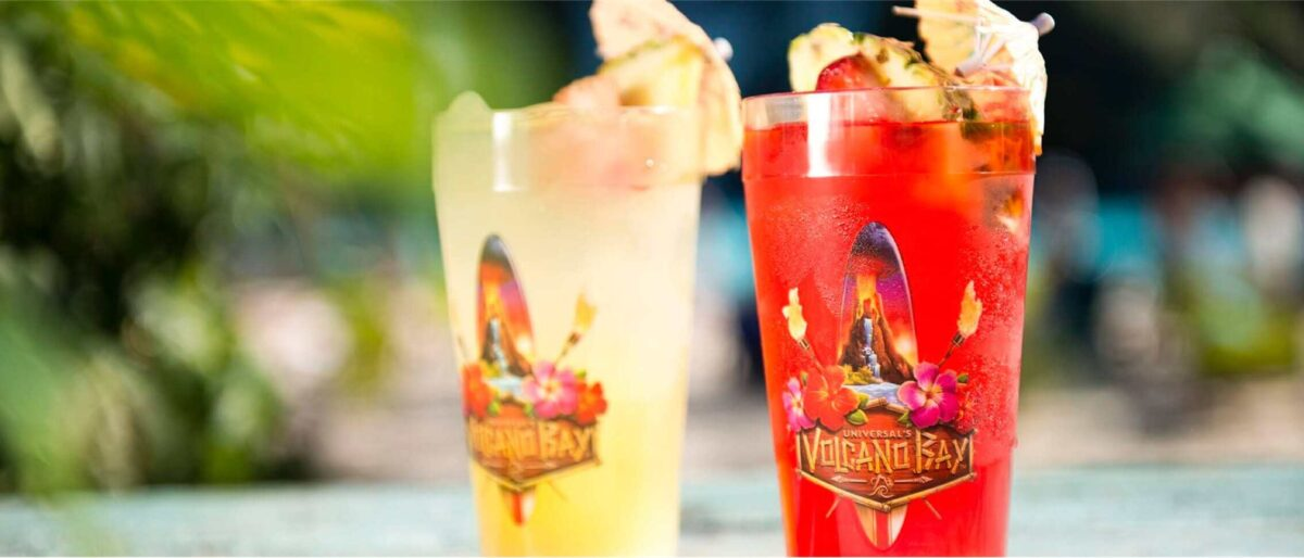 Yellow and Red tropical drinks on beach