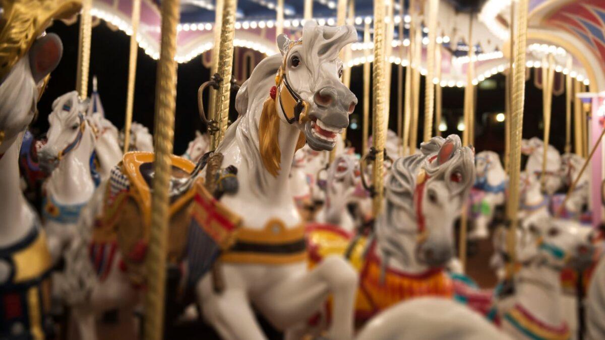 Carousel horses at night
