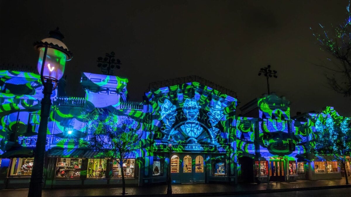 Projections onto buildings at night