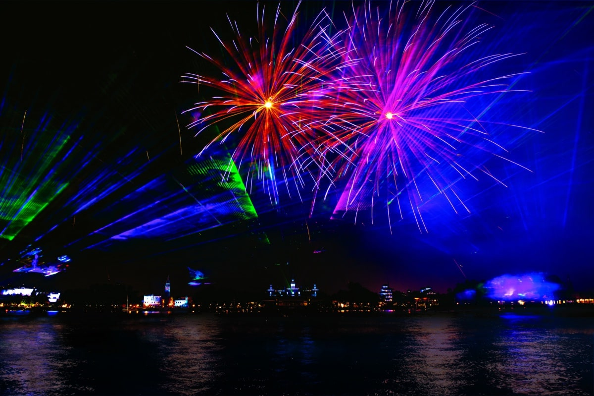 Red, blue and purple fireworks