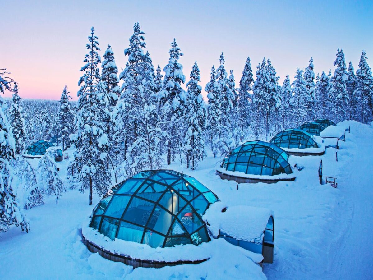 Igloo hotels covered in snow