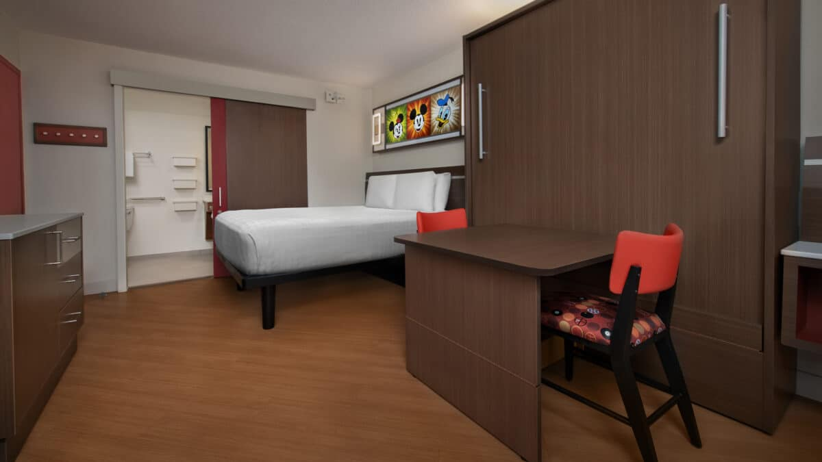 Room with bed and murphy bed