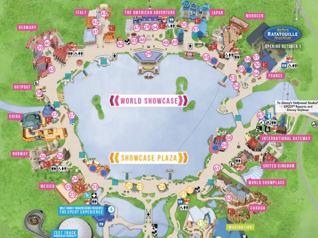 Map of Epcot for Fireworks viewing