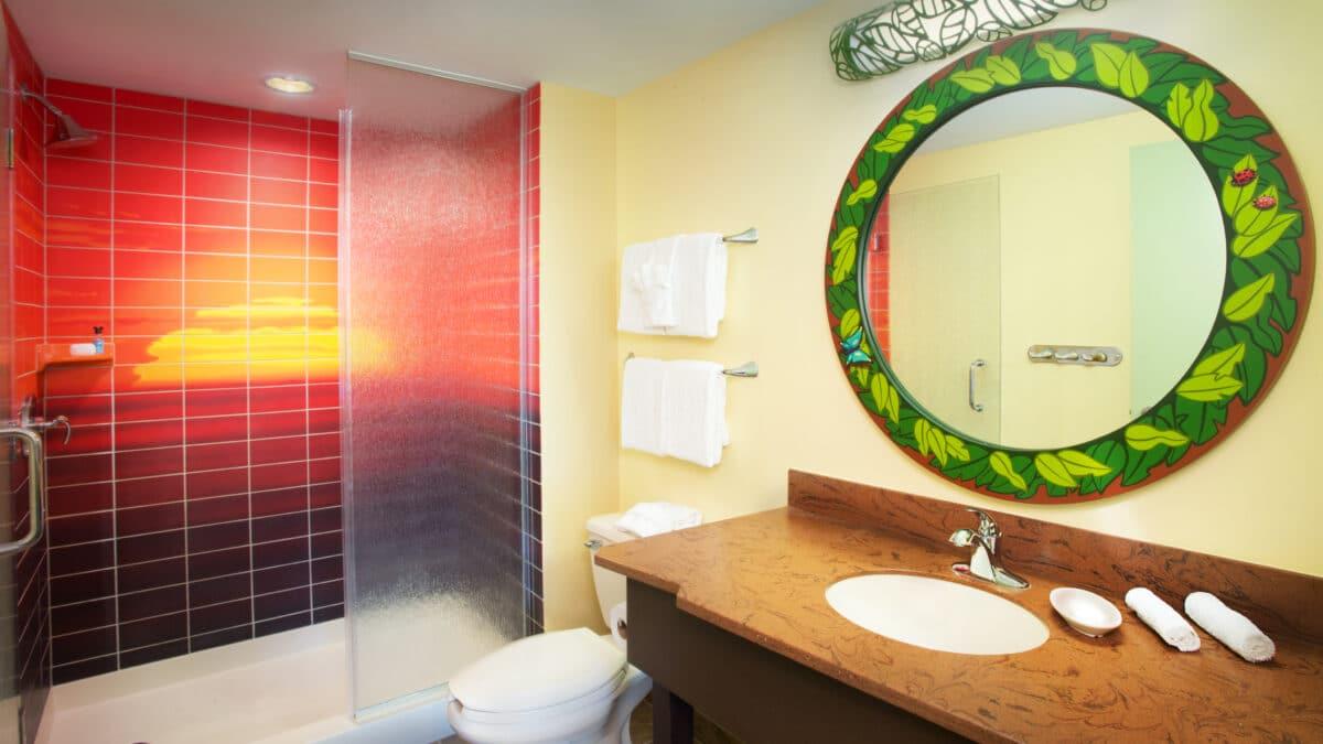 Bathroom vanity with sunset tile bath