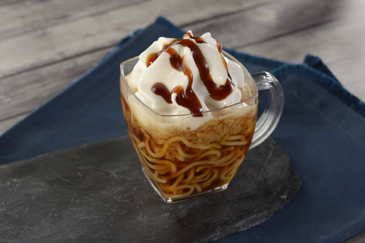 Chilled ramen in glass cup
