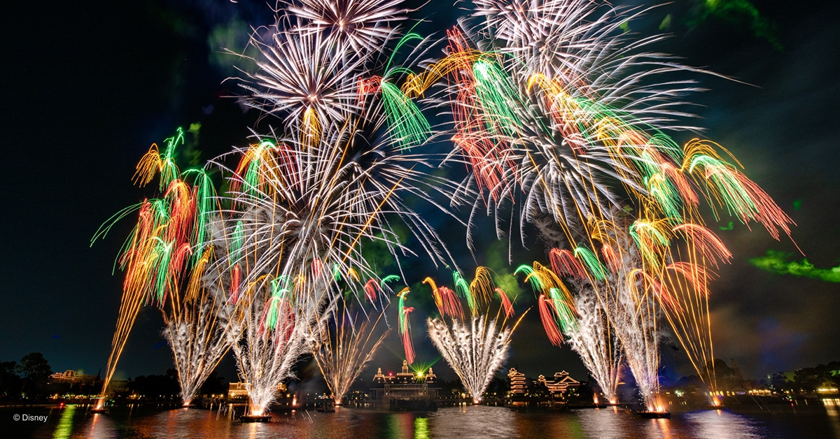 Colorful fireworks in the round