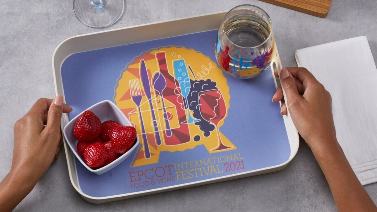 Tray with fruit and a glass