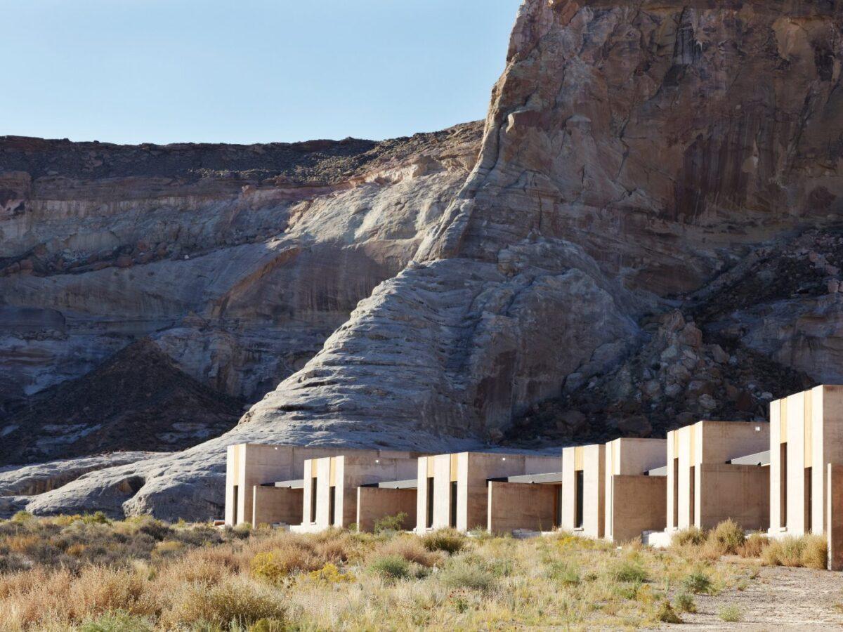 White stone hotel in the desert
