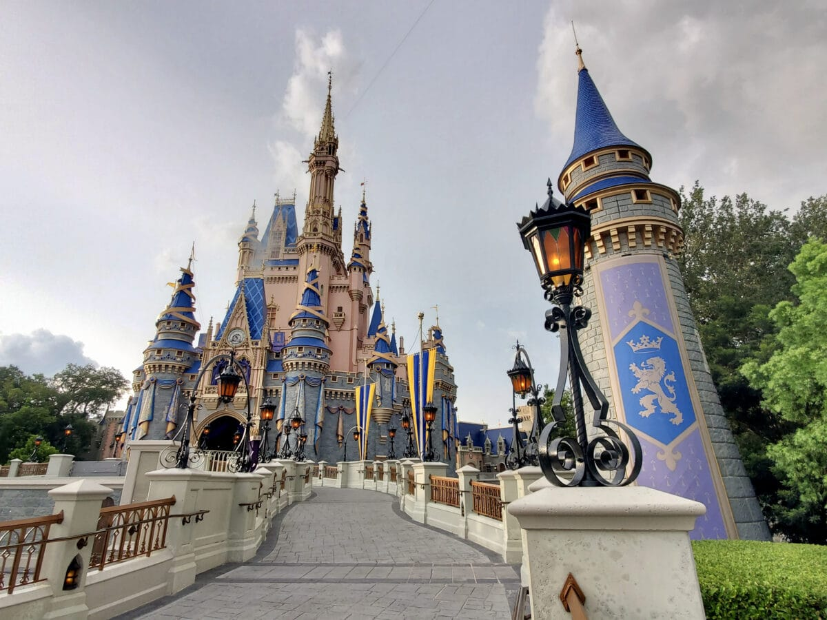 Castle with towers at theme park