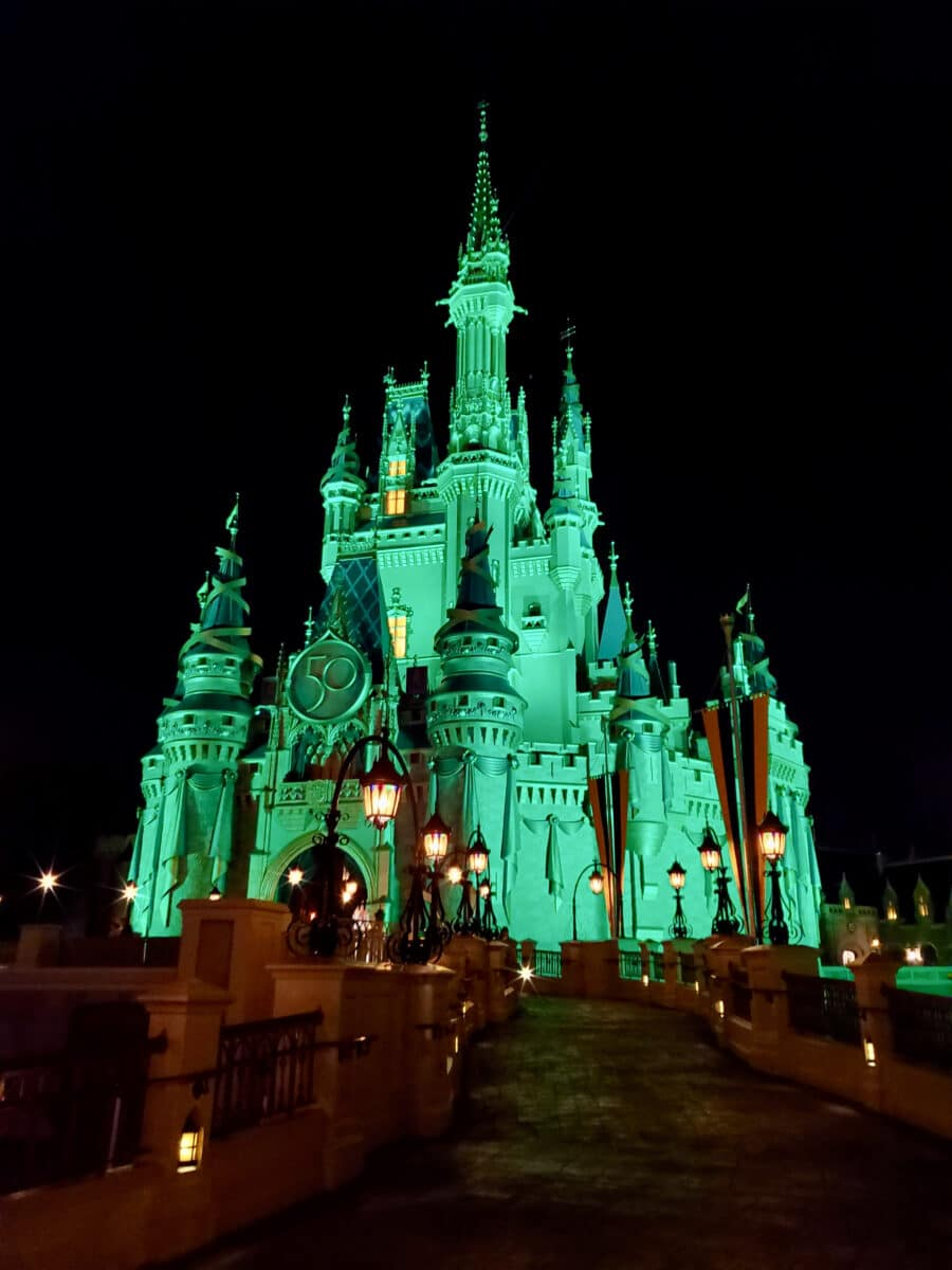 Green castle at night