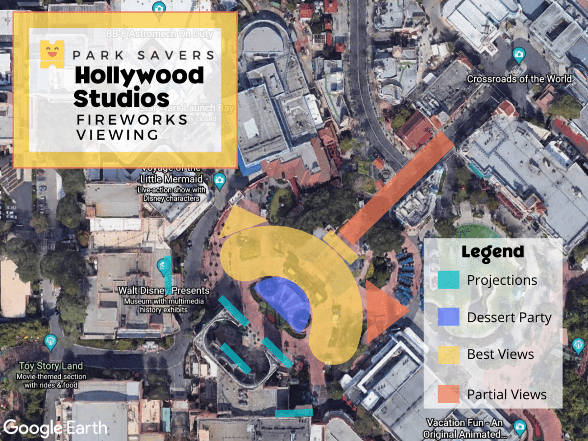 Fireworks map of Hollywood Studios