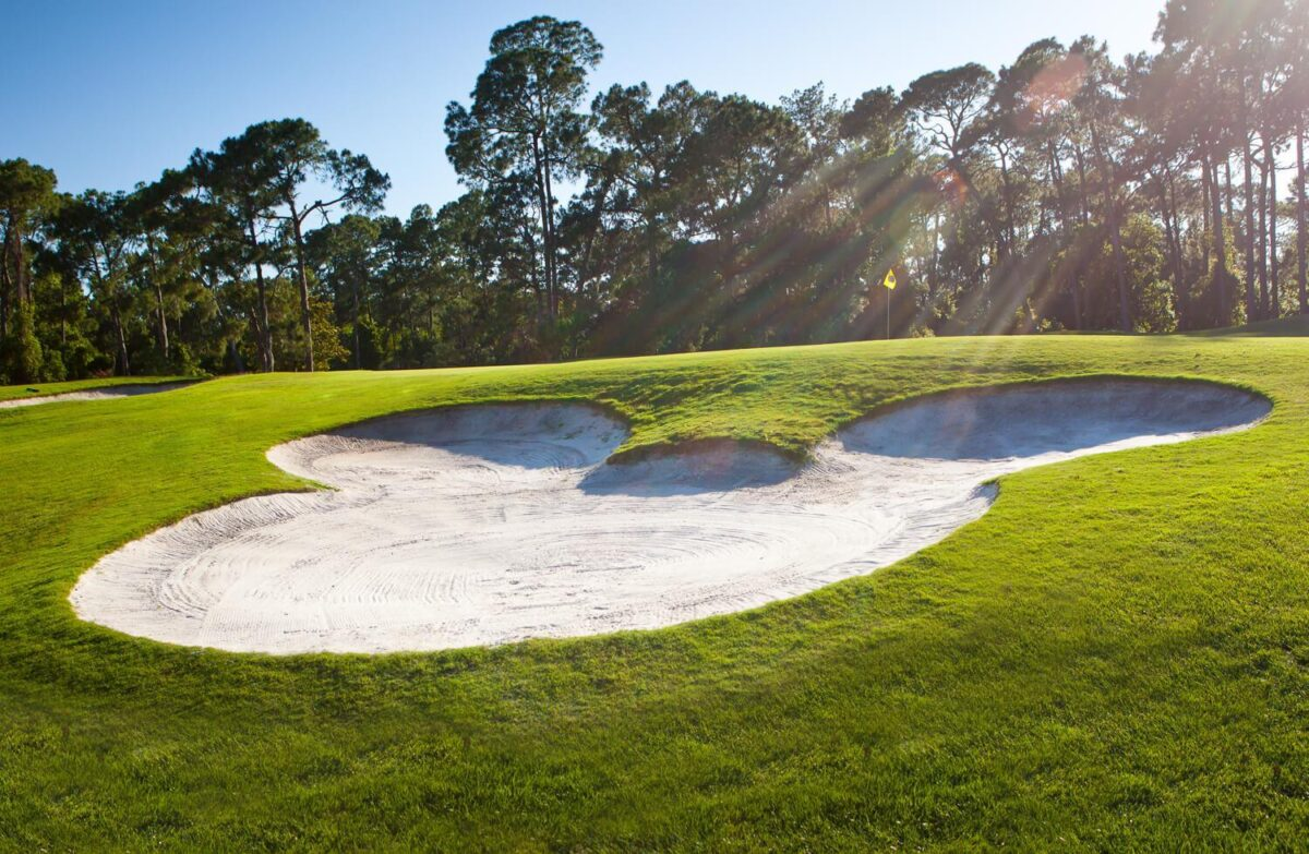 Mickey shaped sand pit on golf course