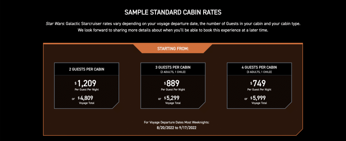 Pricing sheet for Galactic Starcruiser hotel