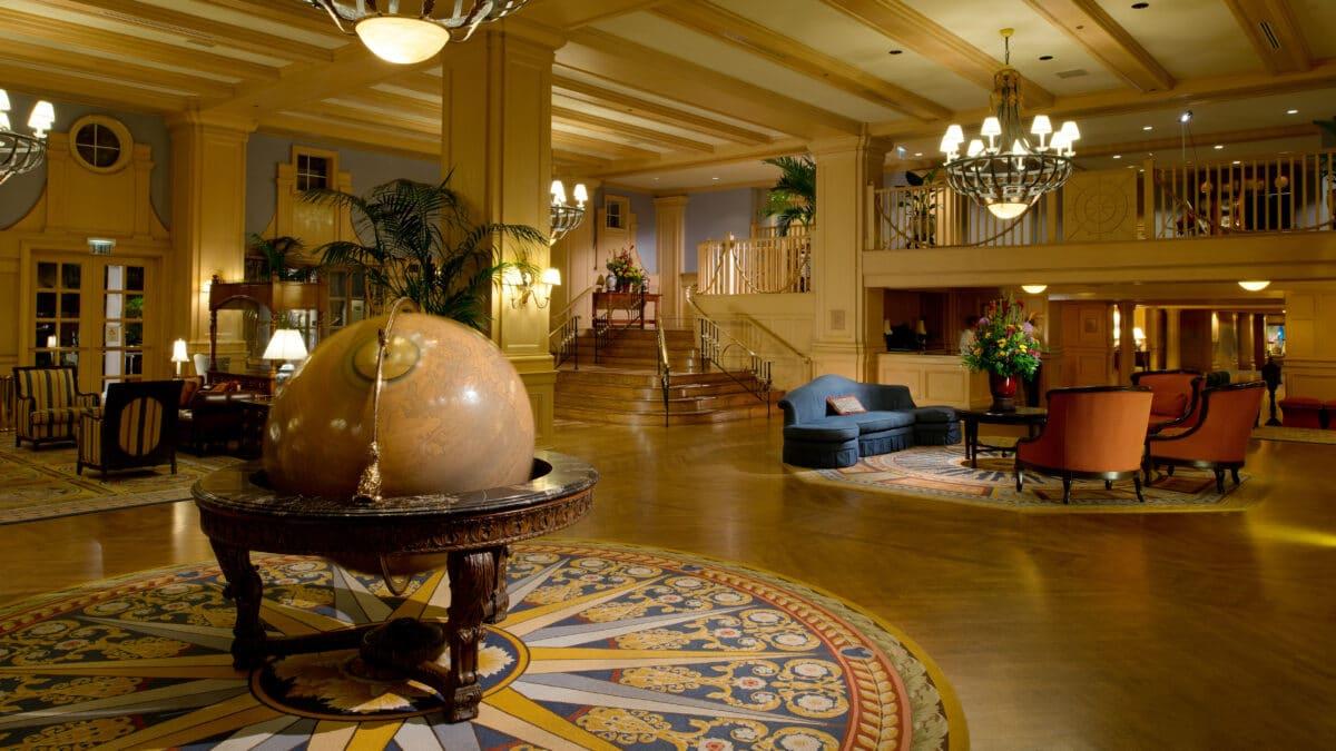 Lobby of hotel with globe