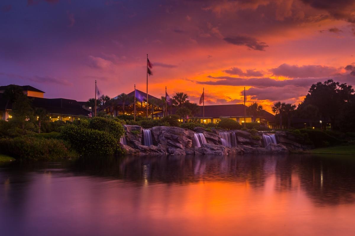 Resort hotel at sunset