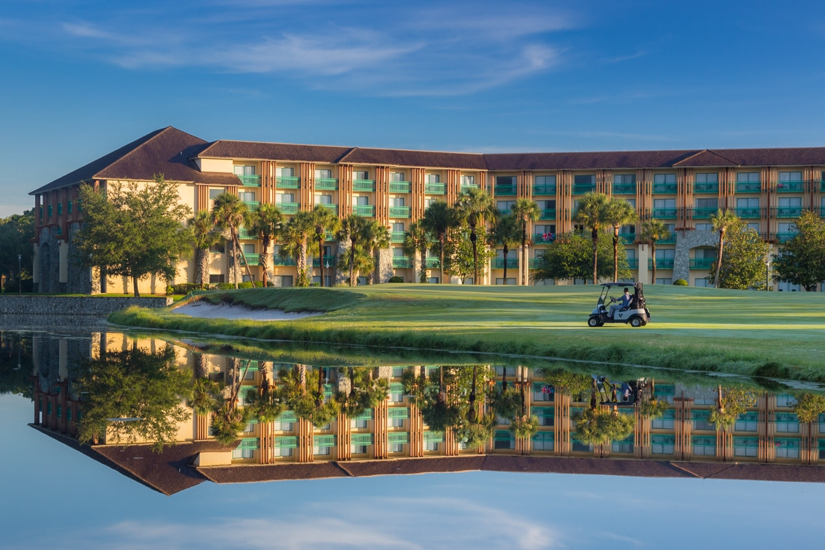 Resort hotel in front of lake and golf course