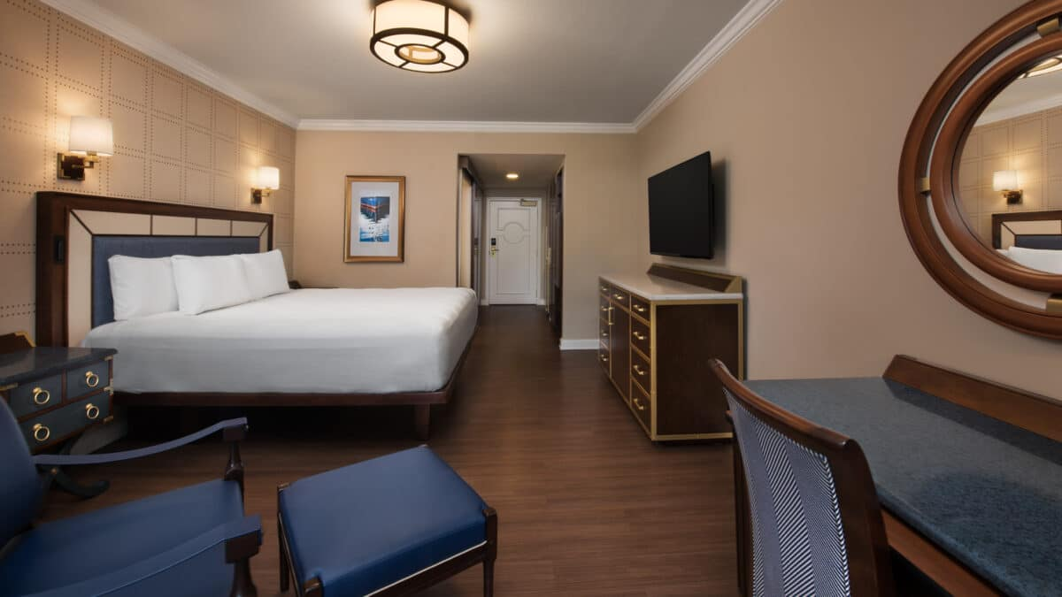 Hotel room with bed and furniture