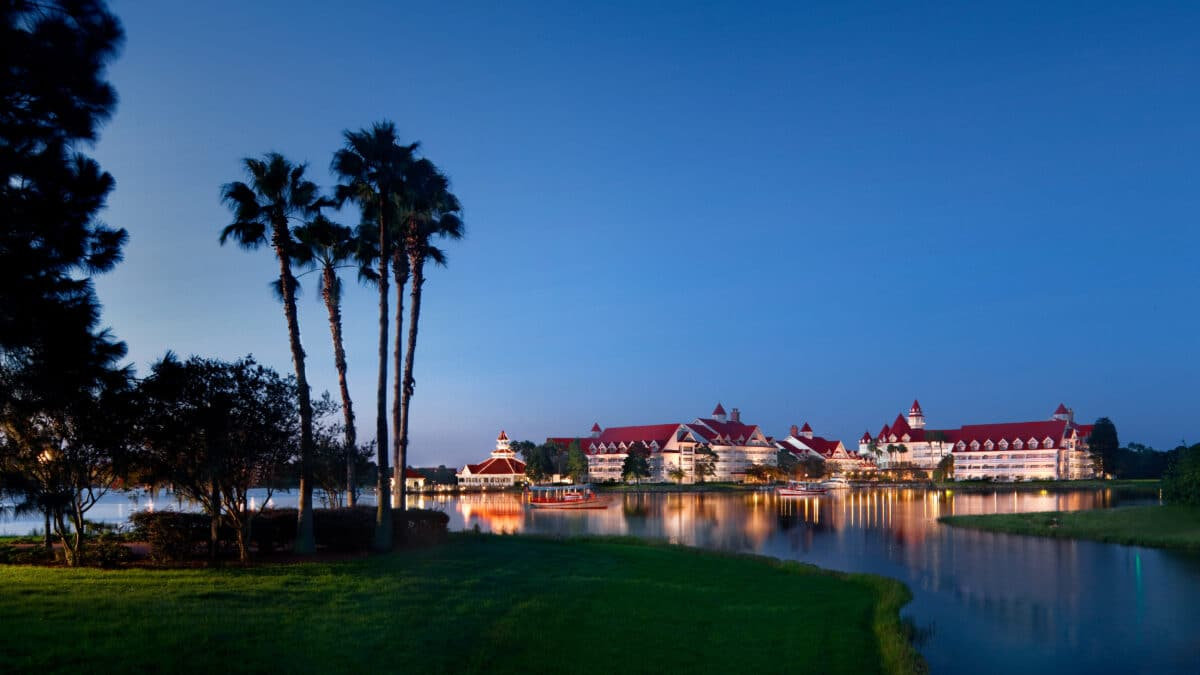 Nighttime view of Grand Floridian Hotel