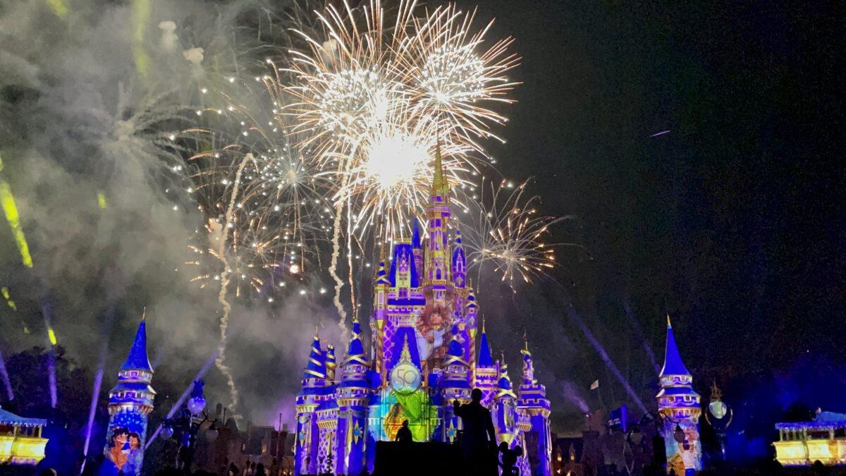 Fireworks above Cinderella Castle
